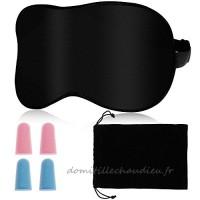 Rovtop Masque de Sommeil Masque pour les Yeux 100% Soie à Double Face Bande Elastique Ajustable avec 2 Paires de Bouchons d'Oreille et 1 Etui de Transport - B07BPYVLF5