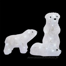 Famille d'ours lumineux Arctique Blanc froid 40 LED - Personnage, animaux et objet lumineux    K4MU01