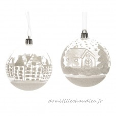 Lot de 12 boules de Noël (D80 mm) Village Blanc - Boule de Noël    ZZYU01
