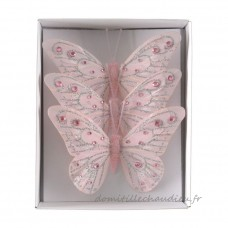 Lot de 3 papillons Plumy Rose - Décoration de sapin    ZQRU01