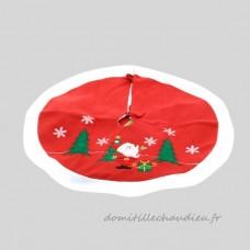 Tapis de sapin rond Teddy Sapin et Père Noël - Accessoire pour sapin    VJEU01