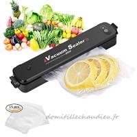 Machine Sous Vide,Adkwse Appareils de Mise Sous Vide Système Automatique d'Emballage Scellant à Vide pour Viandes  Légumes  Fruits avec 15 Pièces Sac à vide - B079JCCTKJ